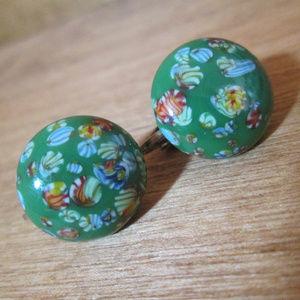 Millefiori Earrings, Emerald Green Glass Button
